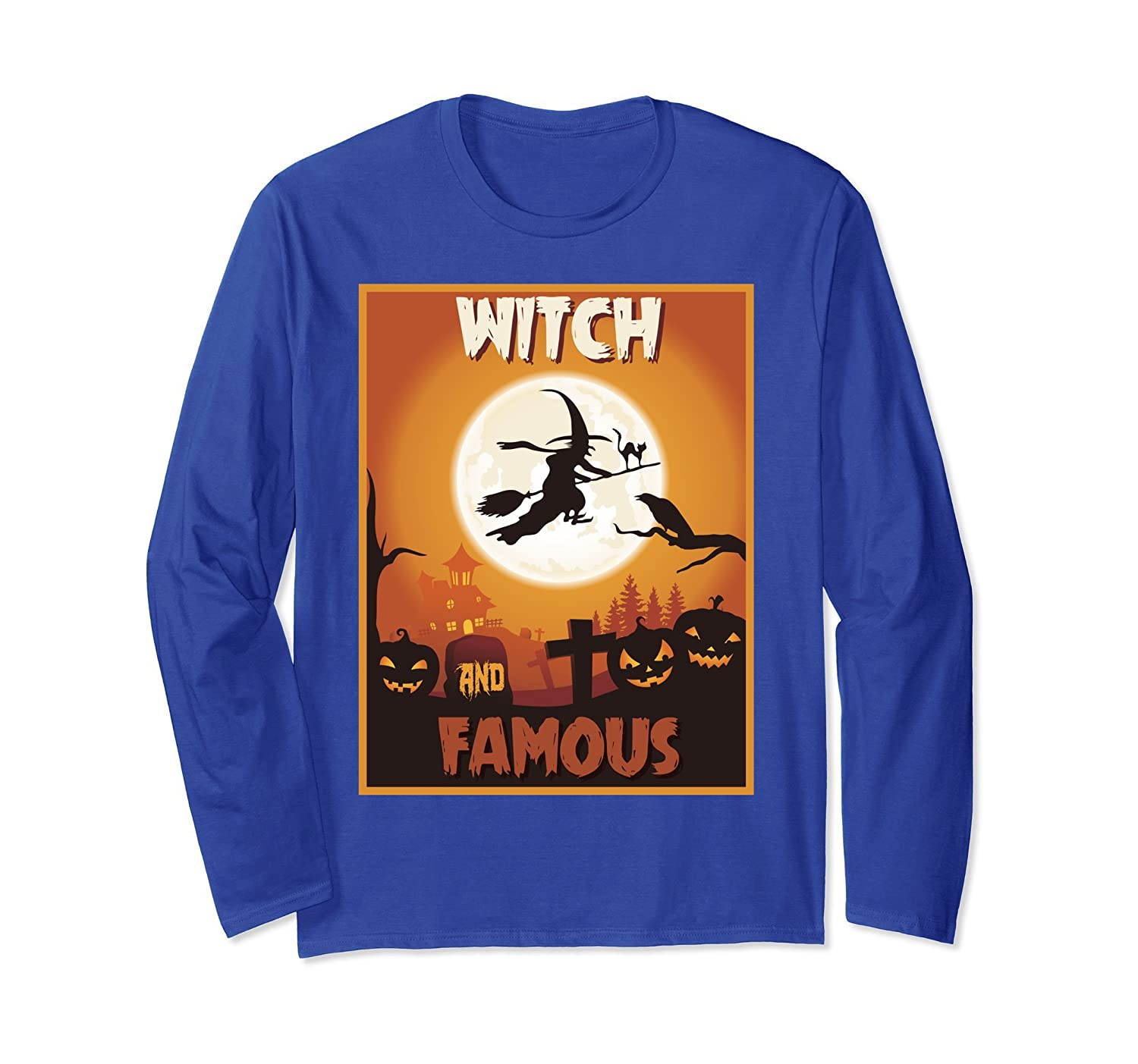 Witch And Famous Long Sleeve Shirt Halloween Witch Costume-mt