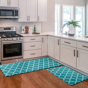KMAT Kitchen Mat [2 PCS] Cushioned Anti-Fatigue Kitchen Rug, Waterproof Non-Slip Kitchen Mats and Rugs Heavy Duty PVC Ergonomic Comfort Standing Foam Mat for Kitchen, Floor Home, Office, Sink, Laundry