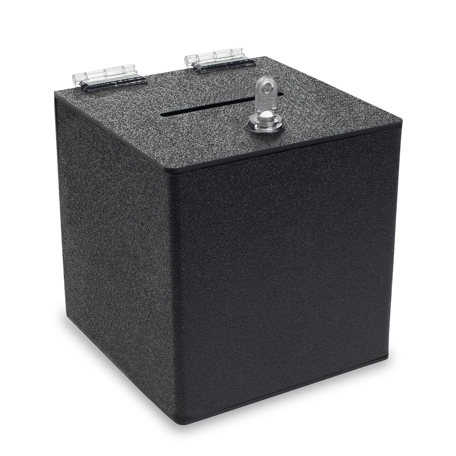 Source One BLACK Cube Donation Box with Cam Lock Suggestion Registration Raffle Bin (6 Inch)