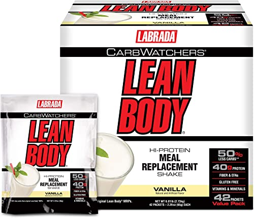 Labrada Carb Watchers Lean Body Vanilla Ice Cream 2.29oz packets pack of 42