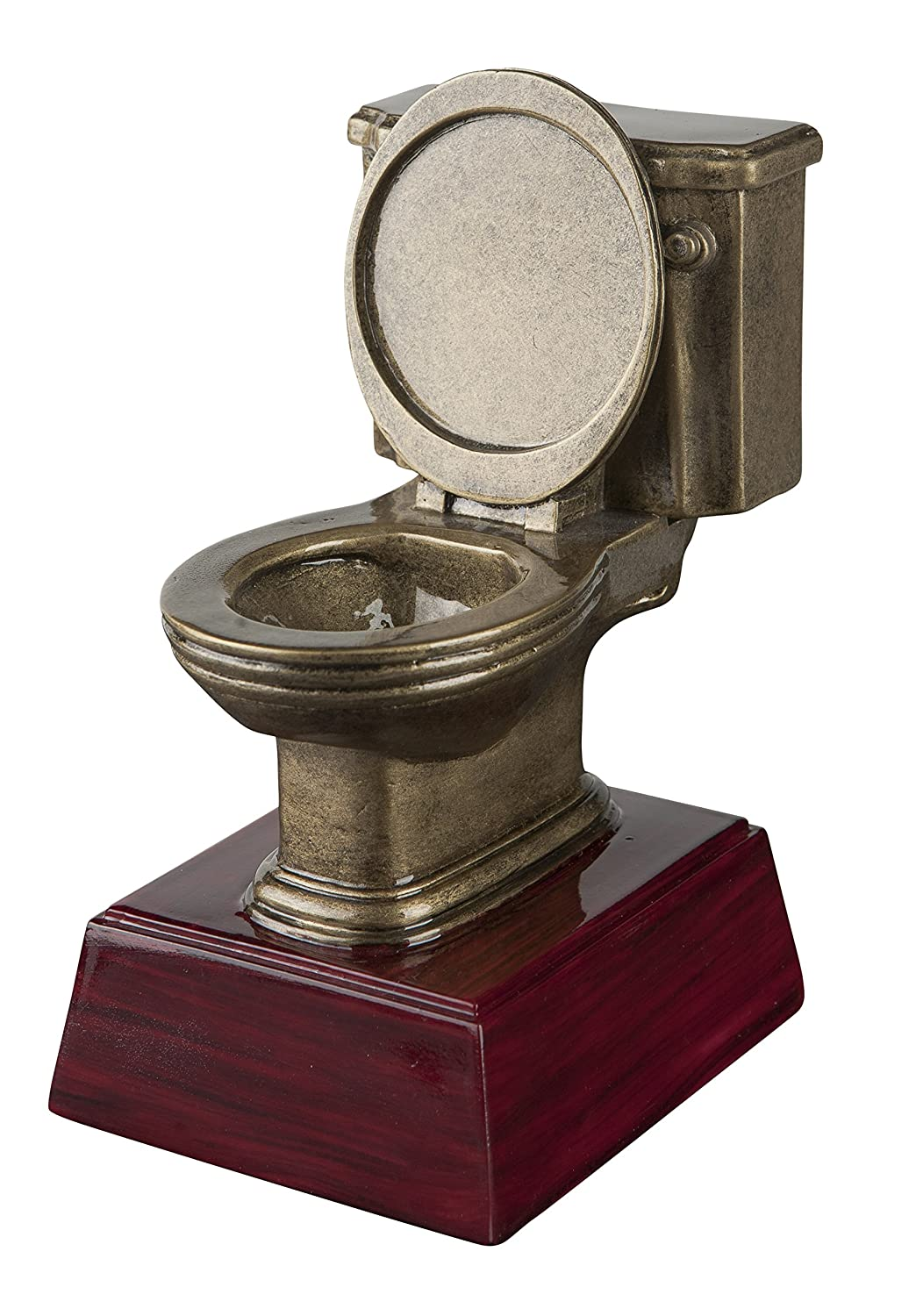 Gold Toilet Bowl Loser Trophy | Potty Training Award | Last Place Award | 6 Inch Tall Free Engraved Plate on Request Decade Awards