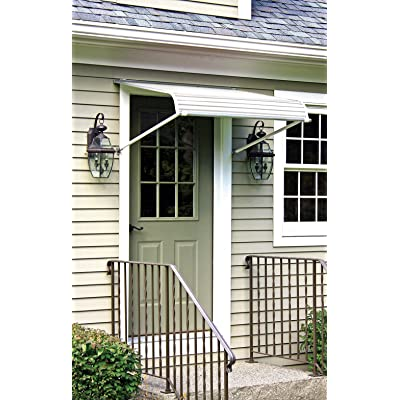 NuImage Awnings 60425 Series 2500 Aluminum Door Canopy with Support Arms, White: Home Improvement