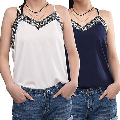 2 Piezas de Camisola Plisada de Cuello V Camisetas sin Mangas de Mujeres Camisolas con Tirantes Casuales de Verano