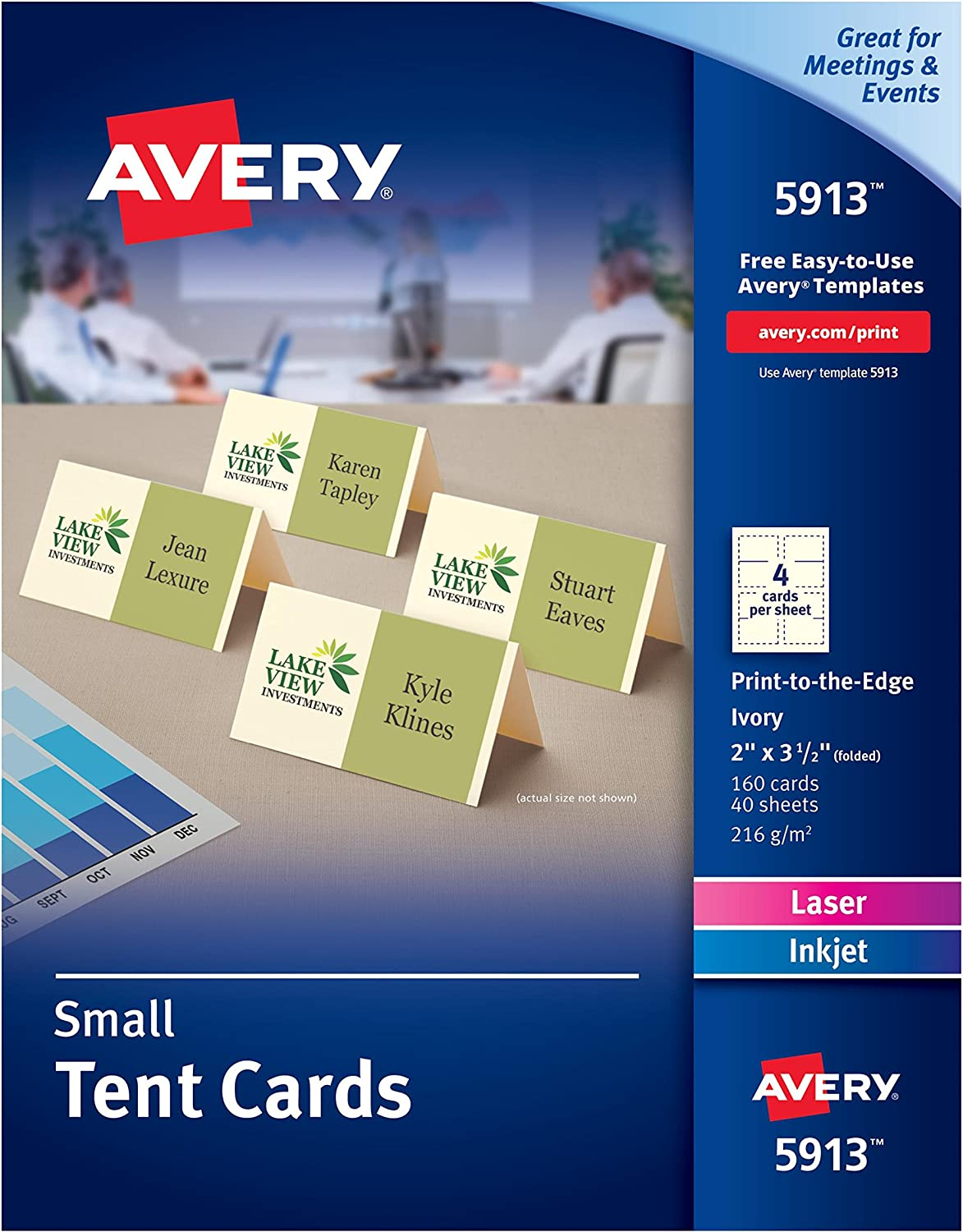 Avery Small Ivory Tent Cards, Laser/Inkjet Printers, 2x3-1/2, Pack of 160 (5913)