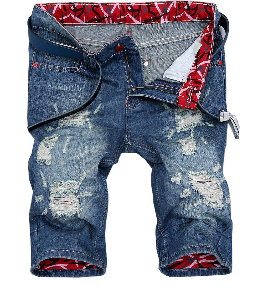 Cresay Mens Fashion Ripped Straight Denim Shorts Jeans