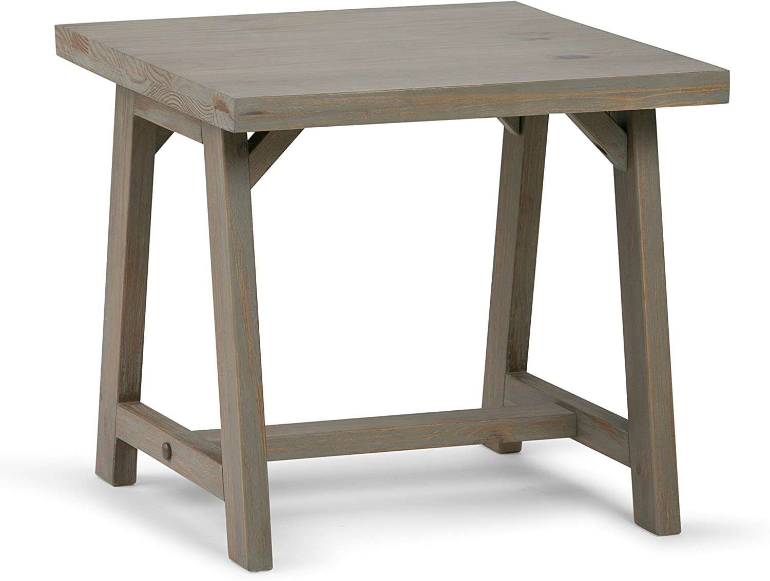 Simpli Home Sawhorse SOLID WOOD 22 inch wide Square Modern Industrial End Side Table in Distressed Grey, for the Living Room and Bedroom