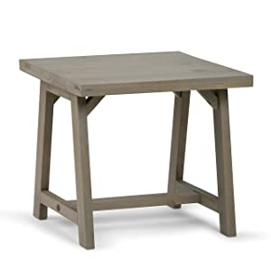 Simpli Home 3AXCSAW-02-GR Sawhorse Solid Wood Modern Industrial End Side Table in Distressed Grey