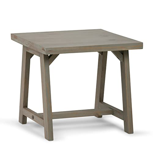 Simpli Home 3AXCSAW-02-GR Sawhorse Solid Wood 22 inch Wide Square Modern Industrial End Side Table in Distressed Grey