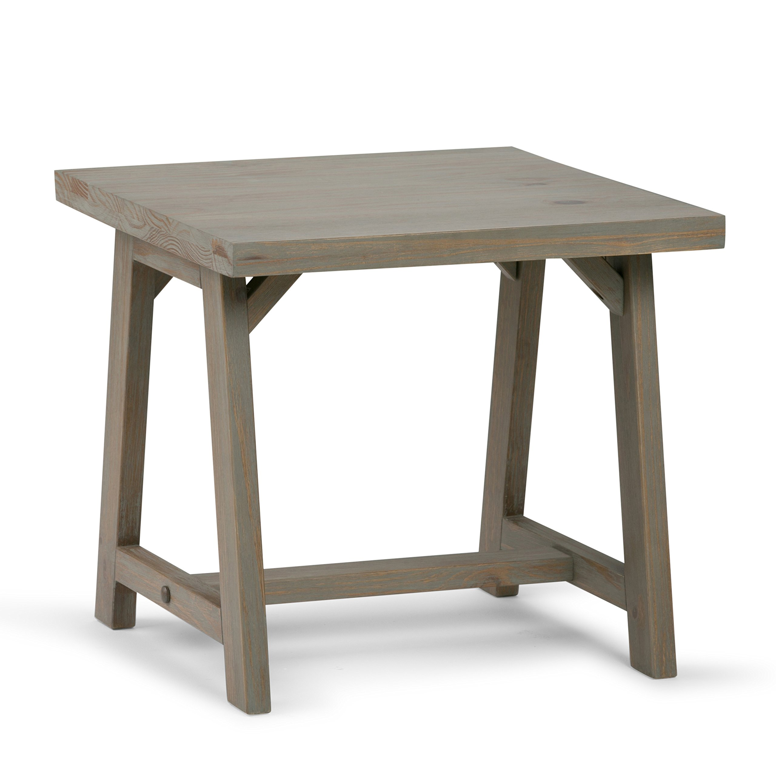 Simpli Home Sawhorse Solid Wood End Side Table, Distressed Grey