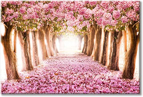 Pink Flower Tree Picture Artwork: Blooming Floral Forest Path Wall Art Painting on Canva
