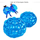 2 Pack Inflatable Bbop Body Bumper Balls Wearable Zorb Bubble Soccer for Kids with Storage Bag 36''