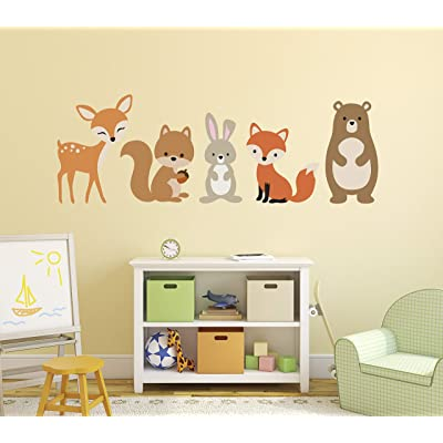 "Woodland Animals Wall Decal Forest Nursery Baby Room Mural Art Decor Vinyl Sticker (48""W x 16""H): Baby"