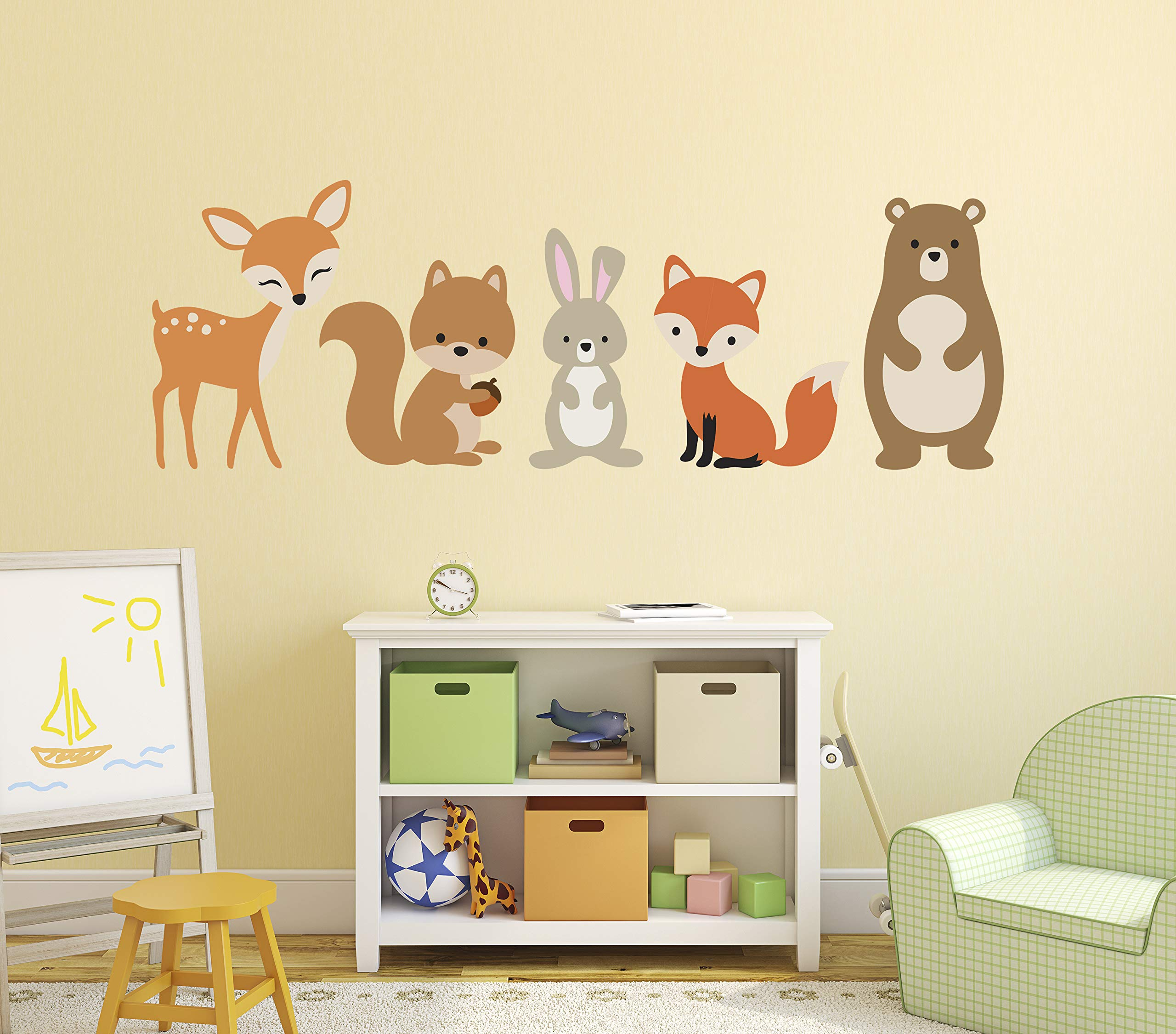 Woodland Animals Wall Decal Forest Nursery Baby Room Mural Art Decor Vinyl Sticker (48''W x 16''H) by Decalzone Inc