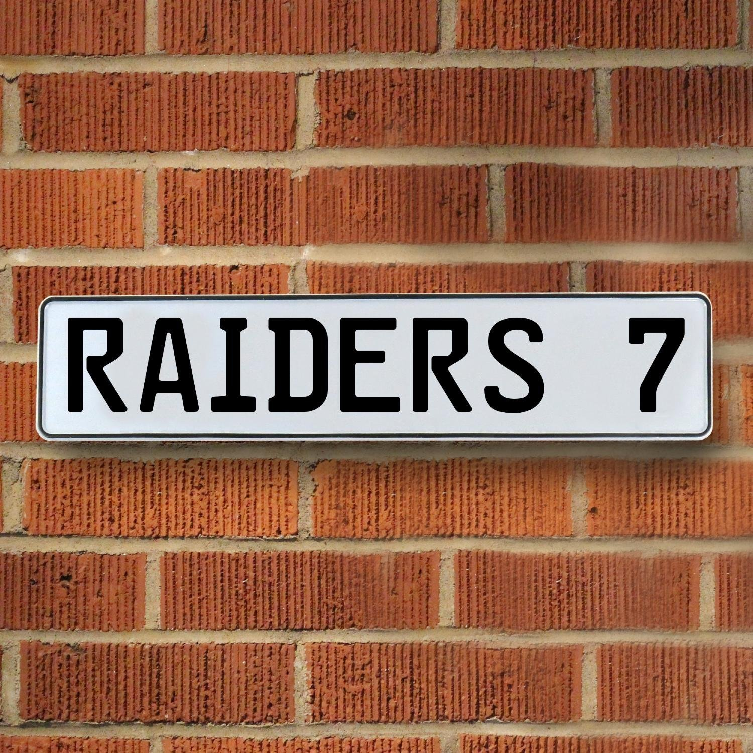 Vintage Parts 337089 7 NFL Oakland Raiders White Stamped Street Sign Mancave Wall Art