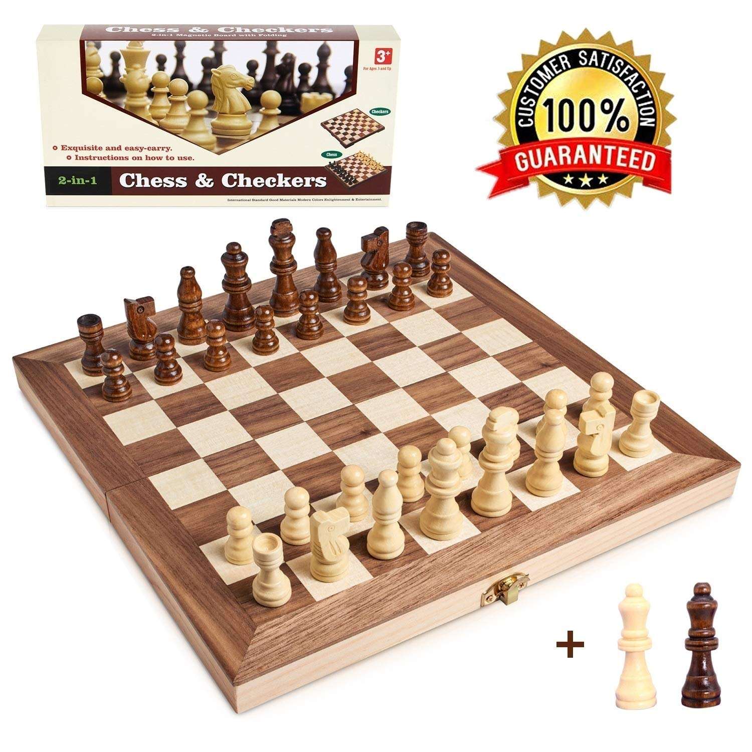 Wooden Chess Set for Kids and Adults, Folding Chess Board Travel Chess and Checkers Set Game Board Interior for Storage - 2 Extra Queens ( 12'' x 12'' ) by Jseraph