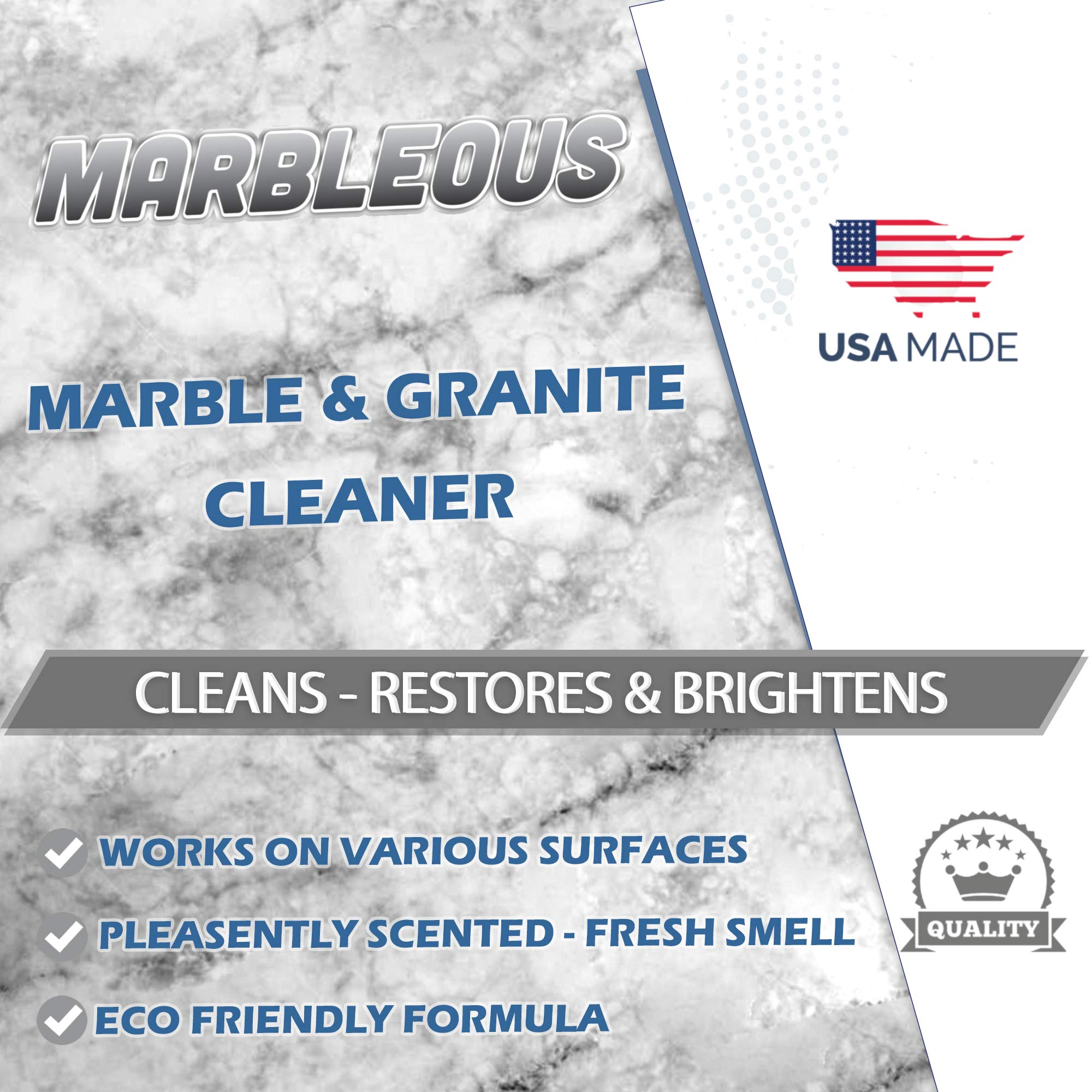 GreenFist Marbleous Marble Cleaner and Other Stone Surfaces Brightener & Restorer [Tile,Countertop,Porcelain,Lime-Stone,Ceramic,Granite,Brick,Vinyl] (1 Gallon) by GreenFist (Image #2)