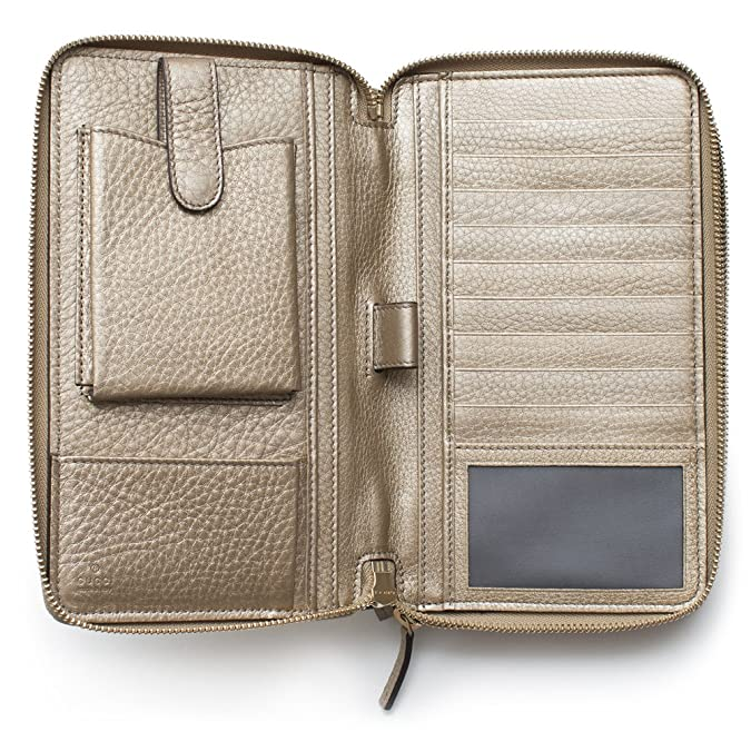 Amazon.com  Gucci Soho Golden Beige Wallet Double Zip Clutch Travel Leather  Bag Flat Italy New  Shoes 958f259e07715