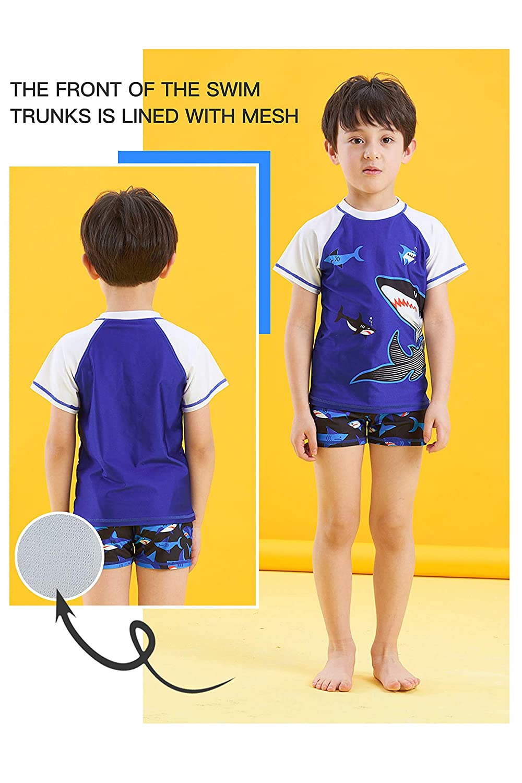 IKALI Boys Two Pieces Swimsuit Rash Guard Swim Trunk Short Set for Kids 3-9Y