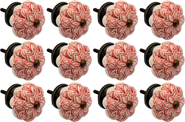 Colore Verde Oliva Pomello in Ceramica per Armadi//Cassetti Design Floreale Stile Vintage Nicola Spring