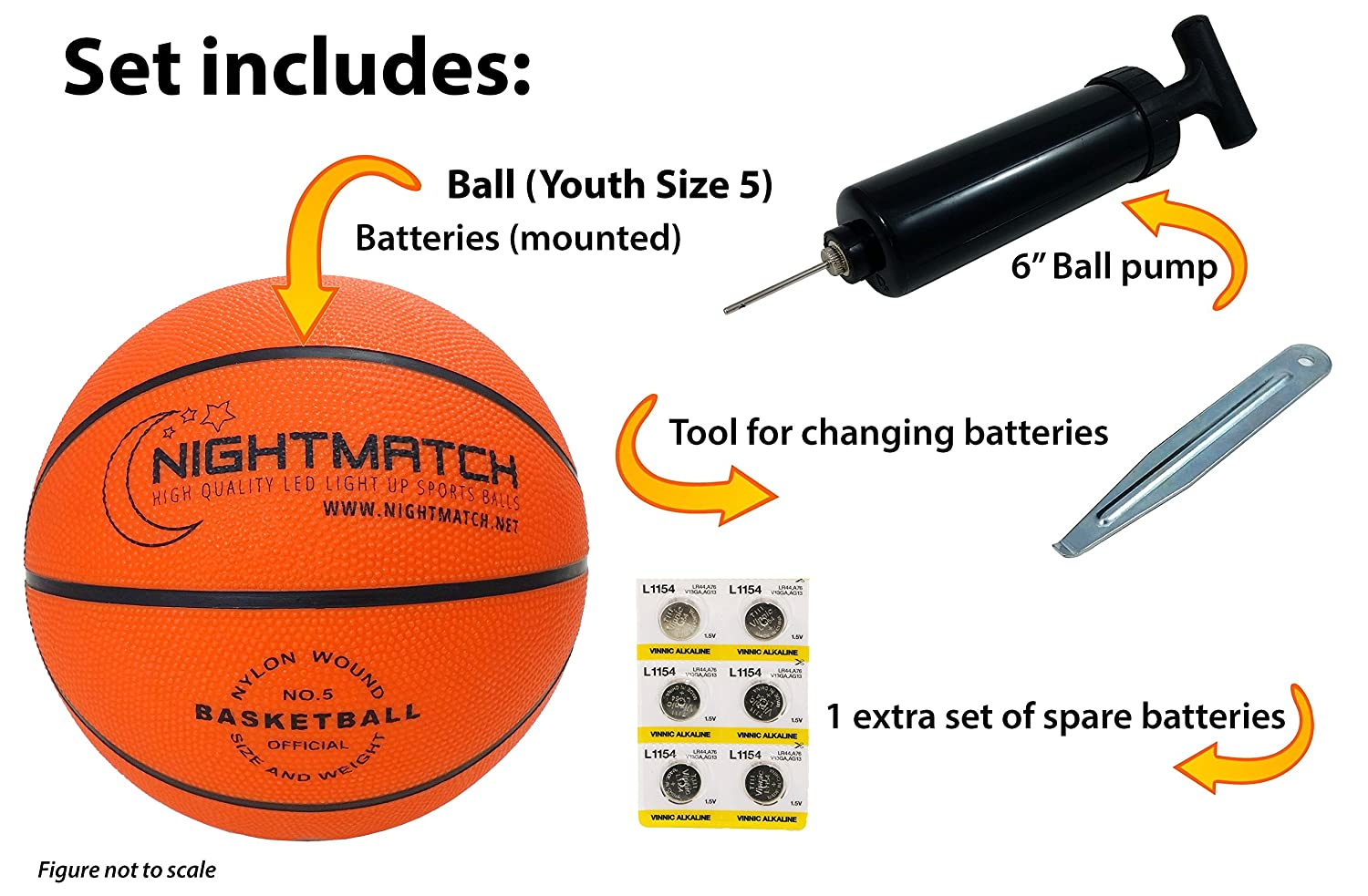 NIGHTMATCH Light Up Basketball – Junior Edition – INCL Ball Pump and Spare Batteries – Inside LED Lights up When Kicked – Glow in The Dark Basketball- Size 5 – Official Size Weight