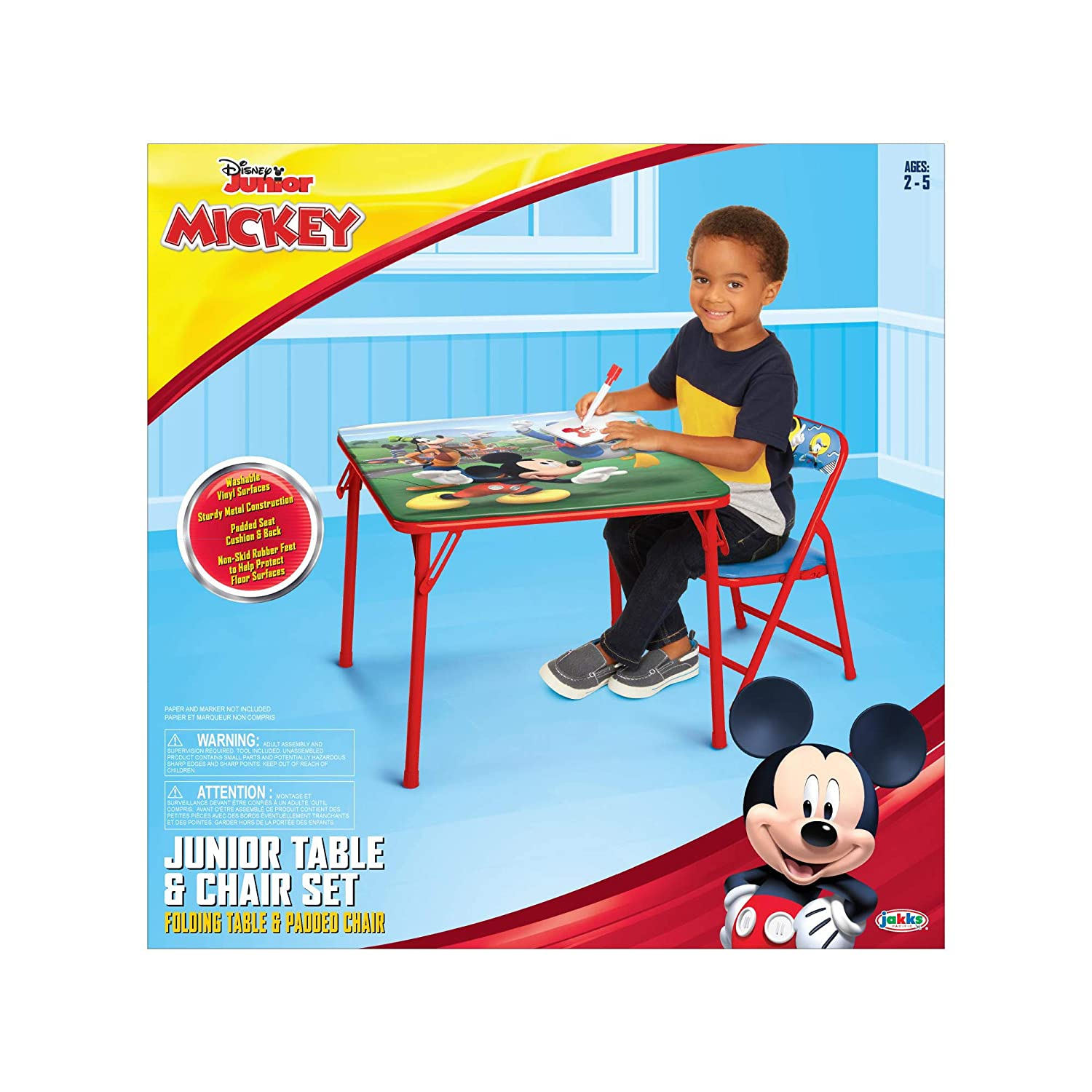 ad2384a7e1e Amazon.com: Dinsey Junior Mickey, Junior Table & Chair Set, Folding Table &  Padded Chairs: Toys & Games