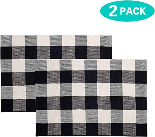 MUBIN 2-pack Buffalo Plaid Door Mat Rug Black White Check Rugs 23.6 x35.4 Inches Hand-Woven Indoor or Outdoor Rug