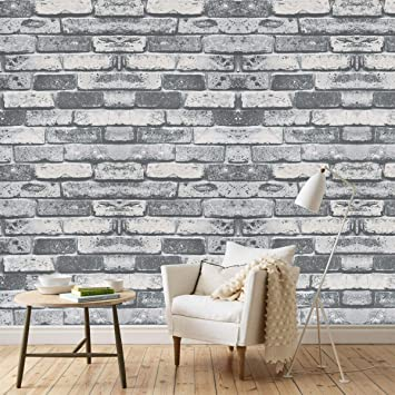 Wenmer White Brick Contact Paper 78 8 X15 8 Brick Peel And Stick Wallpaper Faux Brick Textured Wallpaper Removable Self Adhesive White Gray Wallpaper Waterproof For Room Background Shelf Home