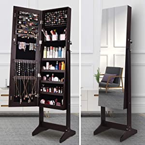 ORAF Jewelry Organizer, Jewelry Armoire Cabinet Standing Jewelry box with Full body Mirror and Large Storage Lockable Wooden Cabinet (Brown, 47'' Mirror, Regular)