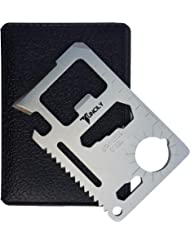 Credit Card Survival Tool - 11 in One Multipurpose Beer Bottle Opener Portable Wallet Size Pocket Multitool. Valentines Day Gift for Him