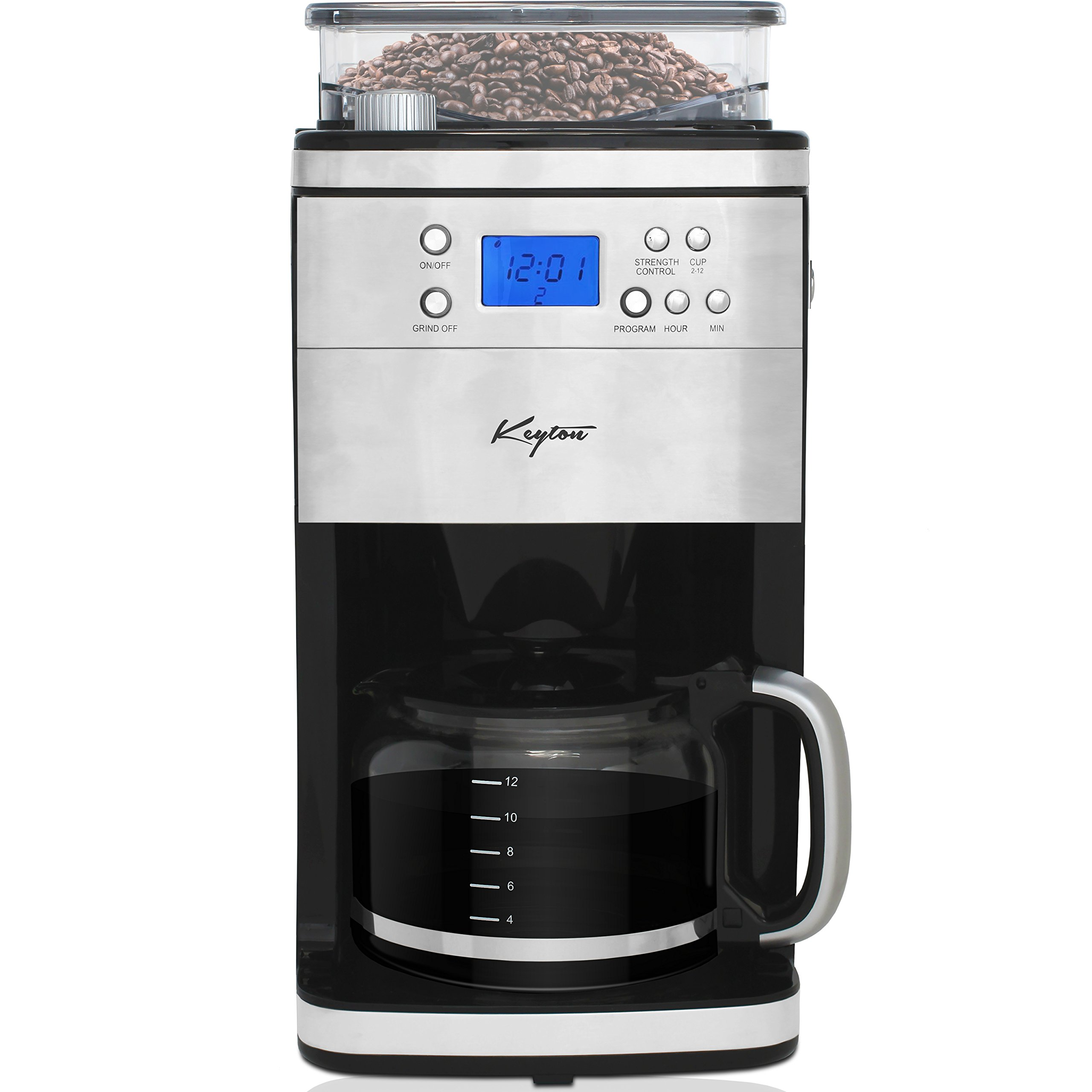 Grind and Brew Automatic Drip Coffee Maker with Multiple Coarse to Fine Options & Multi Brewing Modes and Settings - Stainless Steel - 12 Cup - By Keyton by Keyton