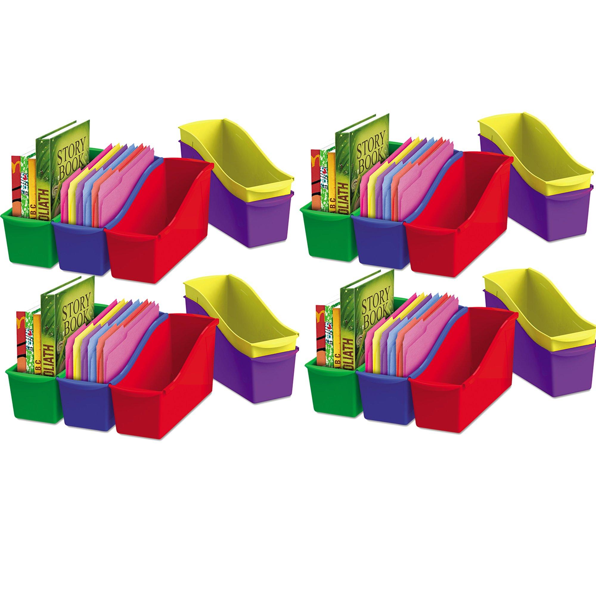 Storex Interlocking Book Bins, 5 1/3 W x 14 1/3 L x 7 H, 5 Color Set, Plastic (70105U06C), 4-Pack