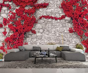 Papier Peint 3d Trompe L Oeil Imitation Brique Et Fleur 415cmx254cm