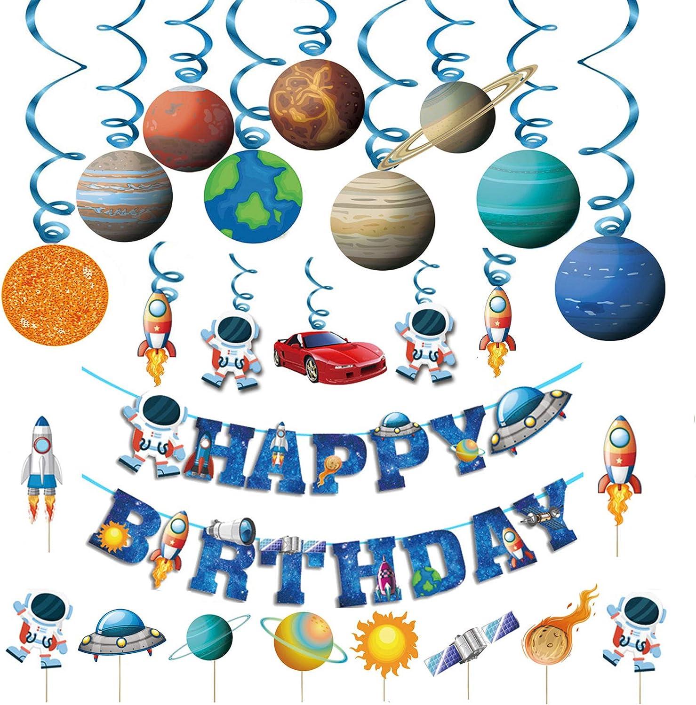 Kids Space Birthday Party Decoration - Blue Astronaut Spaceship Theme Happy Birthday Banner Hanging Solar System Spiral Planet Card Children's Gifts Cake Insert Supplies Set