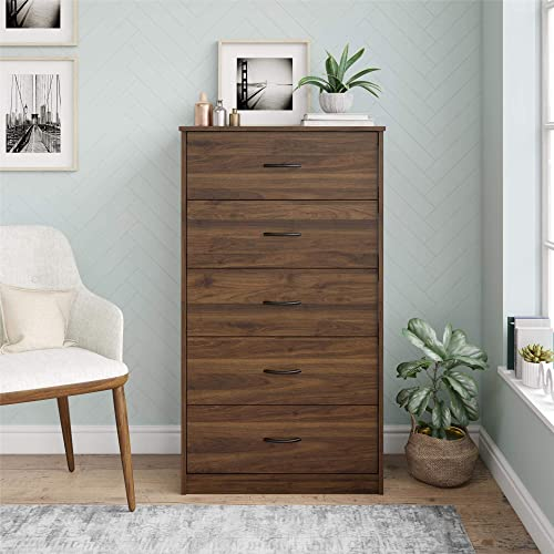 Mainstays Classic 5 Drawer Dresser Walnut