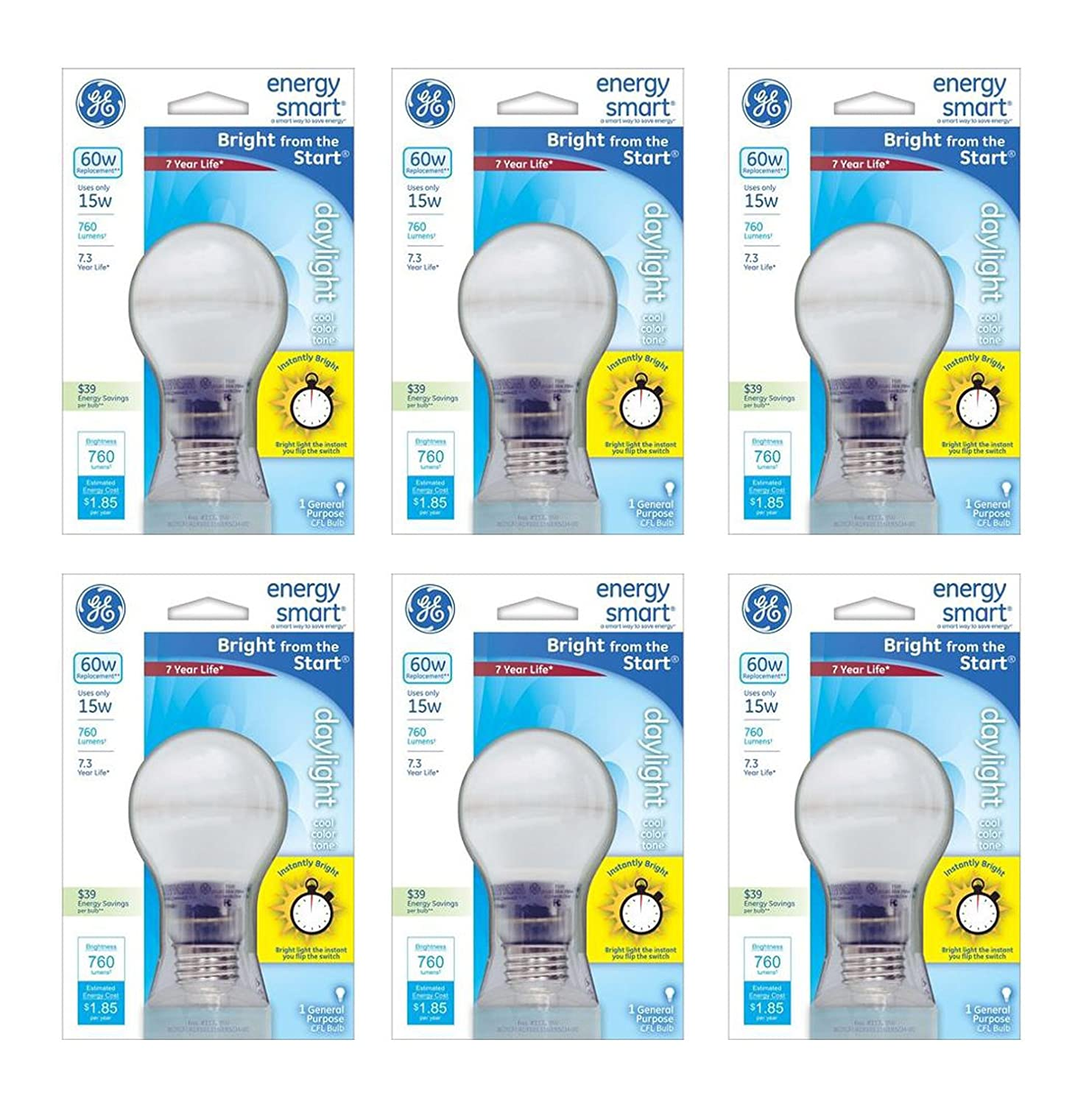 Pack of 6 GE 15W CFL Energy Smart Bulb Equivalent to 60W Daylight Cool Color Tone A19 Standard Medium E26 Base 70971-6pk