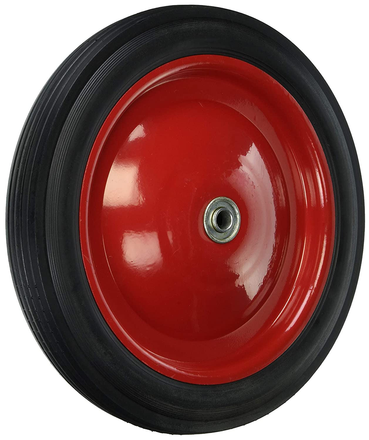 Shepherd Hardware 9584 12-Inch Semi-Pneumatic Rubber Tire, Steel Hub with Ball Bearings, Ribbed Tread, 1/2-Inch Bore Centered Axle