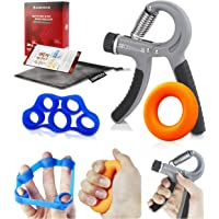 Hand Exerciser, Finger Trainer, JUMPFISCH 3 IN 1 Hand Trainer Set with Hand Trainer, Finger Trainer and wirst Ball for Finger and Wrist Rehabilitation, Strengthening and Hand Flexibility Training (10-40KG/22-88LB)
