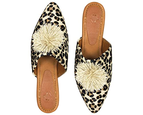 Vida Leather Animal Print Mule Flats for Women | Zuecos para Mujer Beige 5