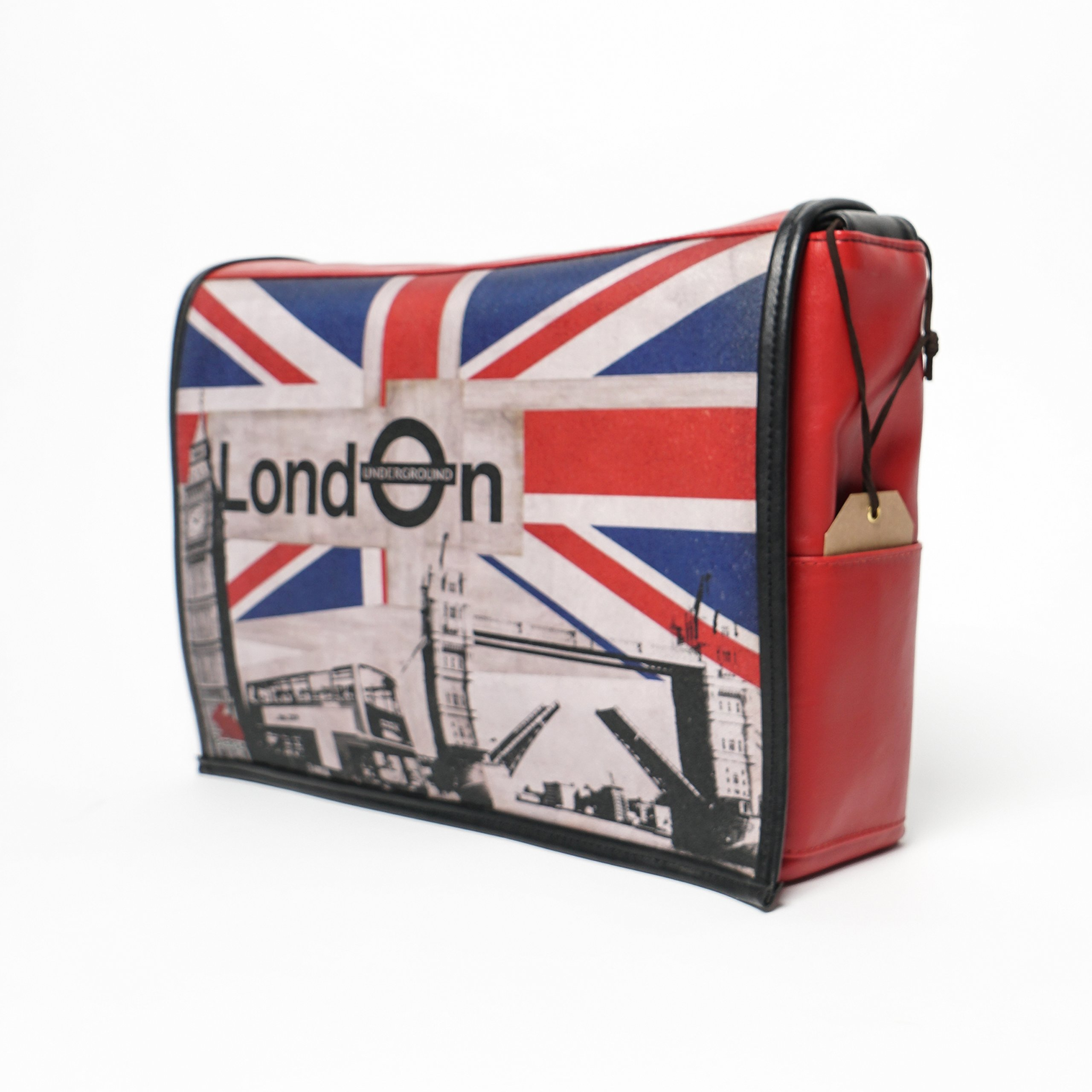 Student - London Print - Benga Rabbit - Red Vegan Leather Messenger Bag