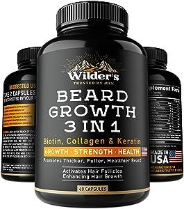 Beard Growth Pills - Thin & Patchy Beard Enhancement Supplement - Made in USA - 60 Capsules - MSM, Biotin, Collagen, Keratin Beard Vitamins - Facial Hair Growth Supplement - Beard Pills for Men