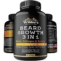Beard Growth Pills - Thin & Patchy Beard Enhancement Supplement - Made in USA -...