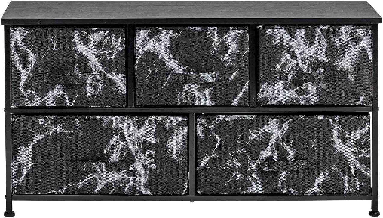 Sorbus Dresser with Drawers - Furniture Storage Chest Tower Unit for Bedroom, Hallway, Closet, Office Organization - Steel Frame, Wood Top, Marble Pattern Fabric Bins (Marble Black – Black Frame)