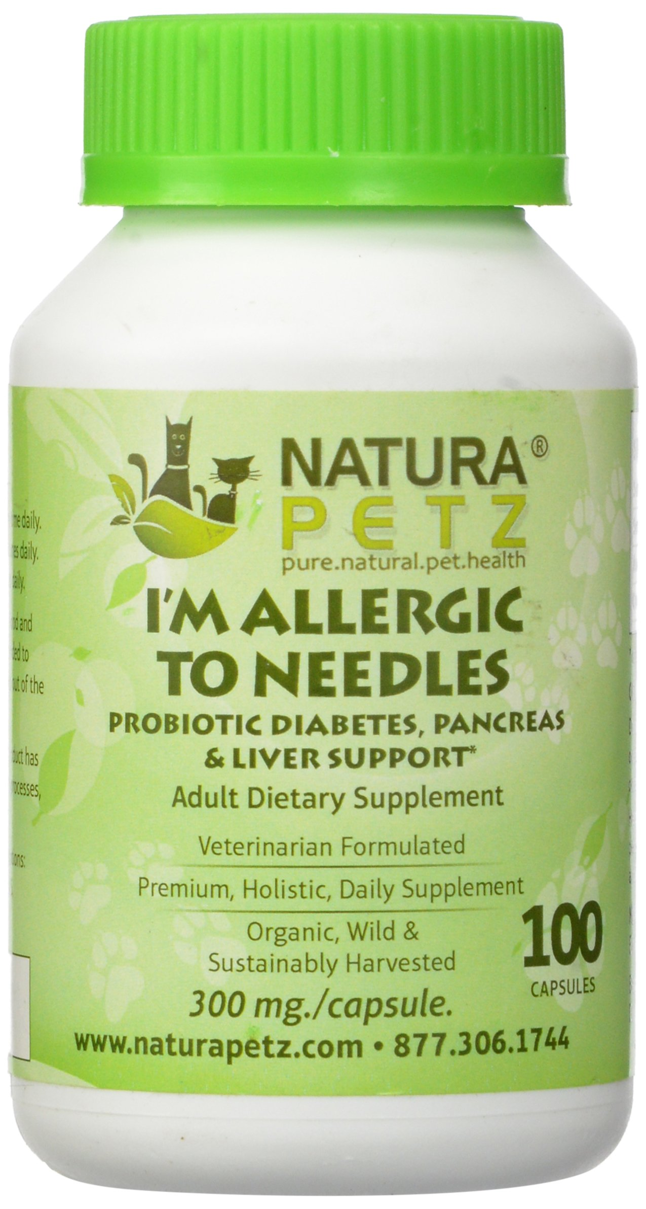 Natura Petz I'm Allergic to Needles Probiotic Diabetes, Pancreas, Liver and Insulin Resistance Support for Adult Pets, 100 Capsules, 300mg Per Capsule by Natura Petz