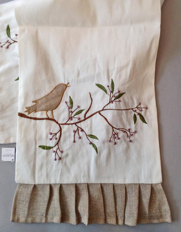 Embroidered Bird Design Ruffled Table Runner
