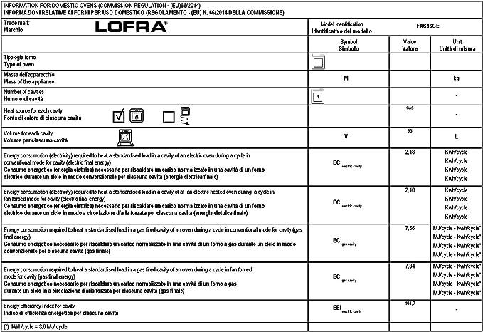 Lofra Exclusivo empotrable Gas Horno 90 cm Autark/Italie nichos Luxus Fabricante Lofra/95 L/6 funciones con compartimento telescópicas de recirculación asado grill/2/temporizador/Instalación del Horno con carcasa enfriamiento/Gas Horno/Cocina de gas ...