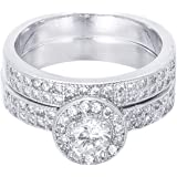 """BLOOMCHARM """"Double Love"""" Stackable Rings Design Cubic Zirconia Crystals, Birthday Gifts for Girls Women"""