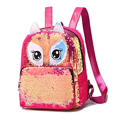 Cute Owl Reversible Sequin Backpack for Girls School Book Pack for Teens Lightweight Travel Backpack | Kids' Backpacks