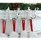 The Original MantleClip Stocking Holder with Removable Holiday Icons, Silver 4-pack (Assorted Icons)