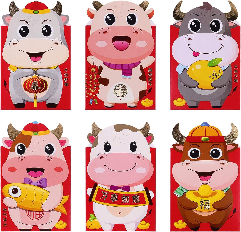 Stobok - 24 sobres chinos de Año Nuevo, color rojo