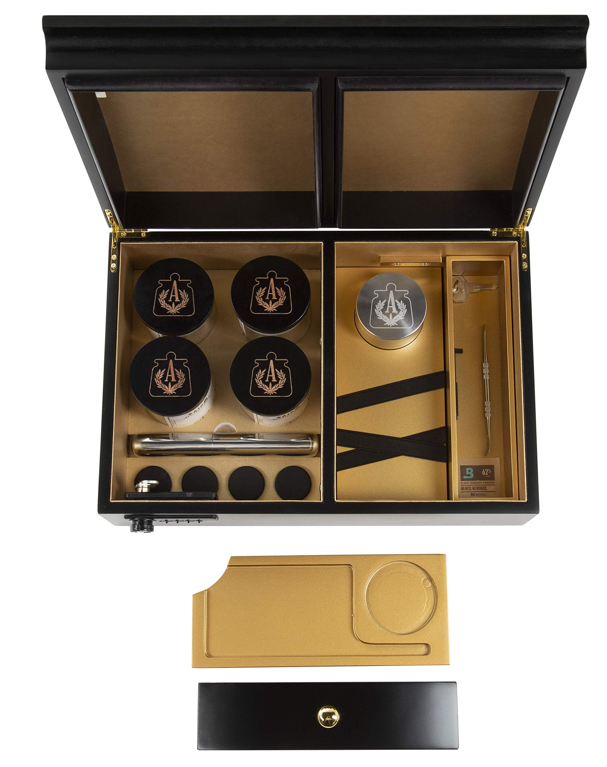Apothecarry Case - Handmade with Built in Lock - Luxury Herb Storage Case for The Connoisseur- Full KIT (Black) by Apothecarry Brands